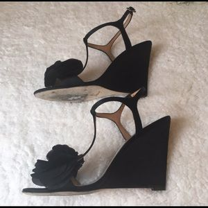 Badgley Mischka Shoes - Badgley Mischka Lyndee Black Flower Wedge Heels
